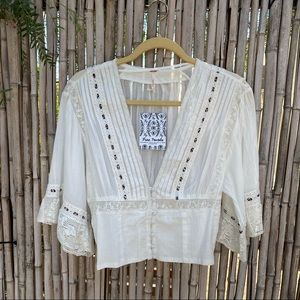 Free People peasant crochet cropped ivory top XS